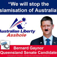 QLD's ANTI-ISLAM LIBERTY ALLIANCE SENATE CANDIDATE BERNARD GAY-NOR CONTINUES TO COP A DOSE OF THIRD DEGREE BURNS